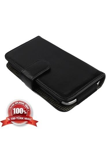 Samsung Samsung I9190 Galaxy S4 Mini Yan Kapaklı Cüzdanlı Kart Bölmeli Deri Kılıf - Siyah Renk Renkli